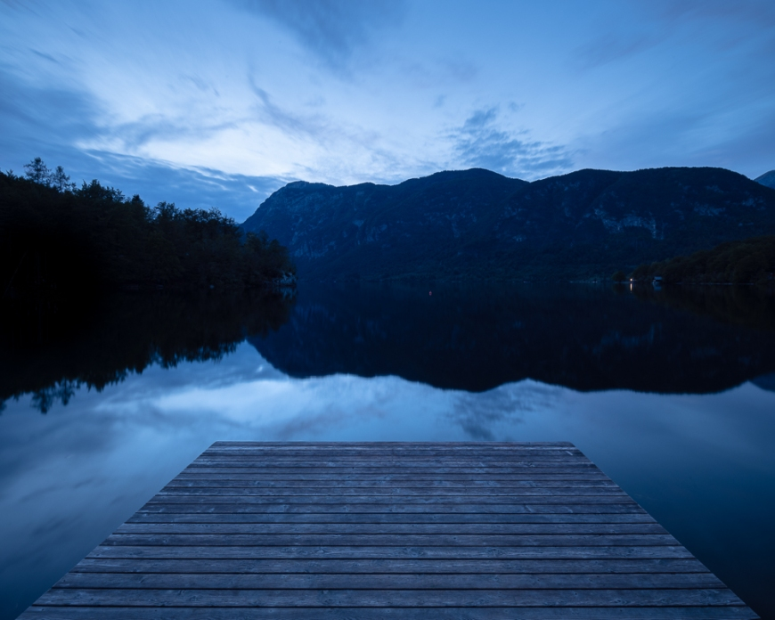 Lake Bohinj at dusk, Triglav National Park, Upper Carniola, Slovenia