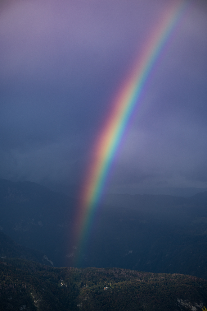 Rainbow over Lake Bohinj, Triglav National Park, Upper Carniola, Slovenia