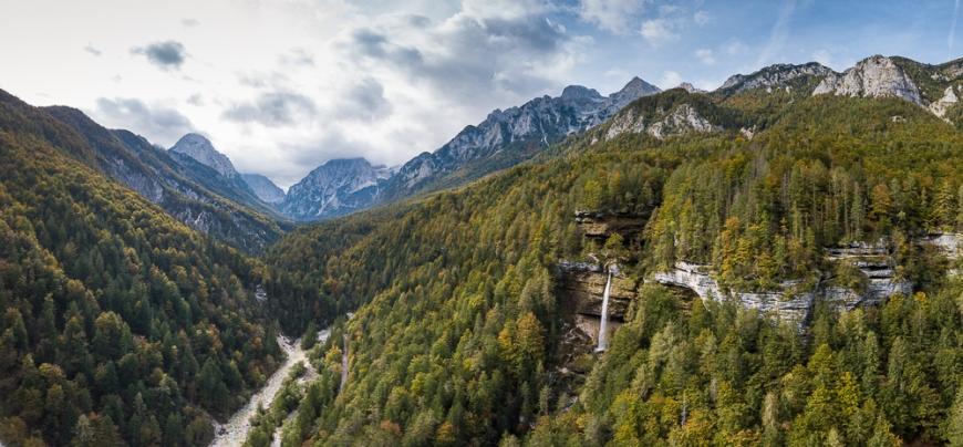 Aerial View of Pericnik Waterfall, Triglav National Park, Upper Carniola, Slovenia