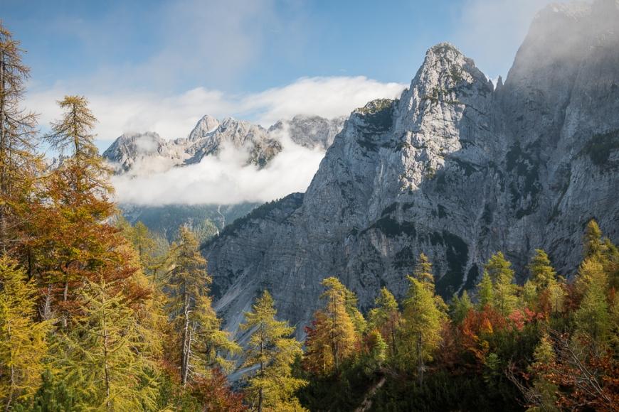 View of Julian Alps, Vrsic Pass, Triglav National Park, Upper Carniola, Slovenia