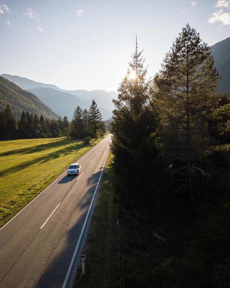 Aerial View of Highway, Triglav National Park, Upper Carniola, Slovenia