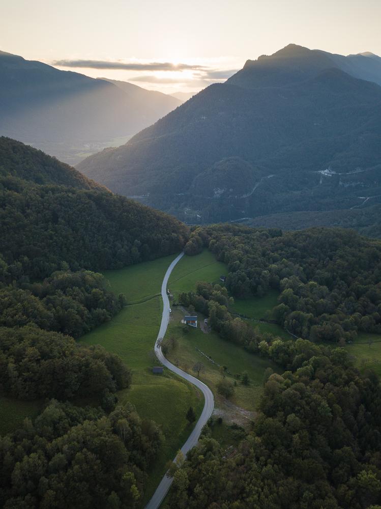 Aerial View of Landscape at sunset, Dresnica, Triglav National Park, Upper Carniola, Slovenia