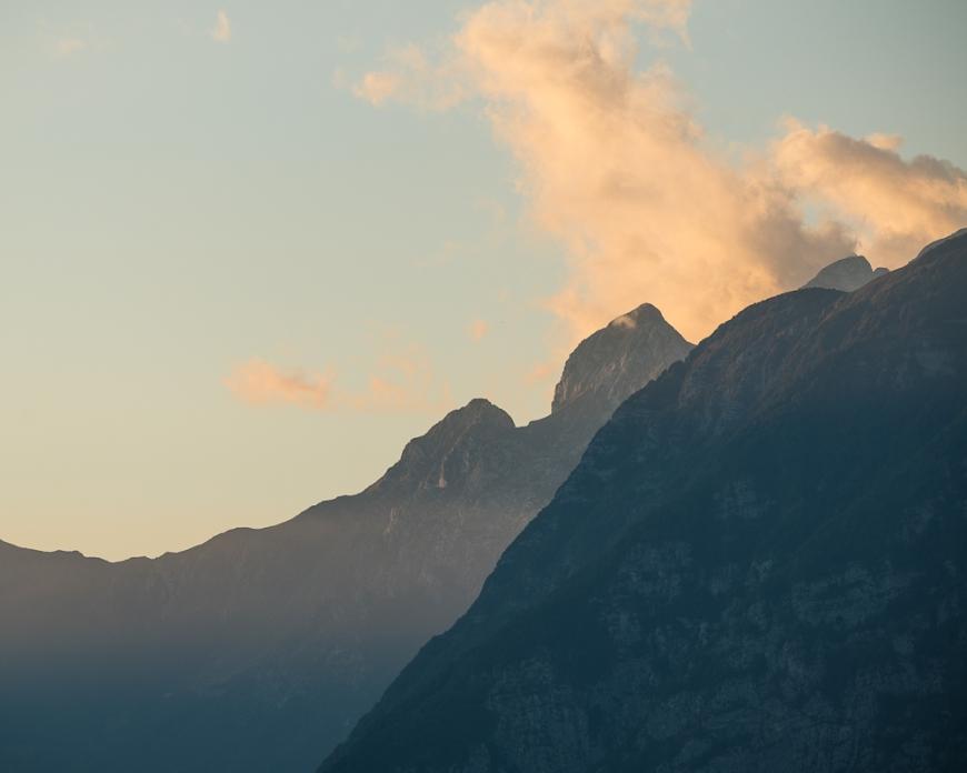 Dusk over Mountains, Dresnica, Triglav National Park, Upper Carniola, Slovenia
