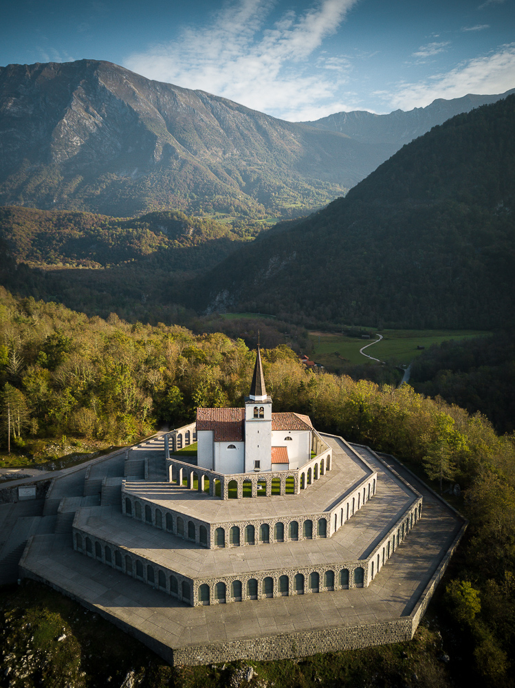 Aerial View of Saint Anthony's Sanctuary Caporetto Memorial, Kobarid, Goriska, Slovenia
