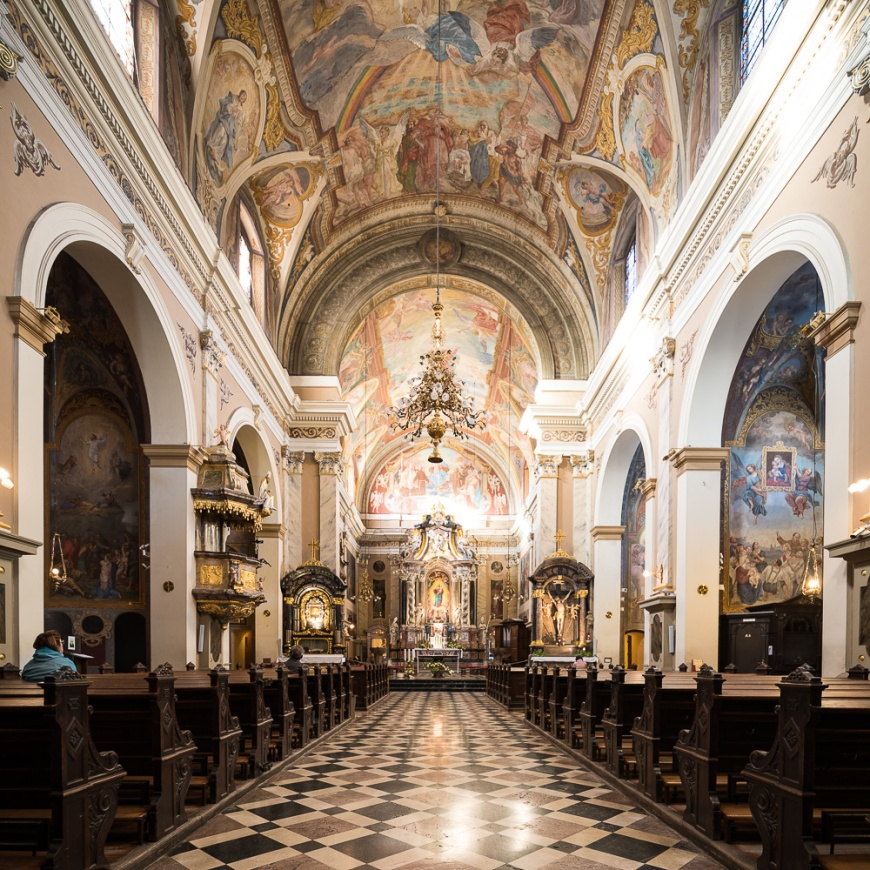 Interior of Franciscan Church of the Annunciation, Old Town, Ljubljana, Slovenia