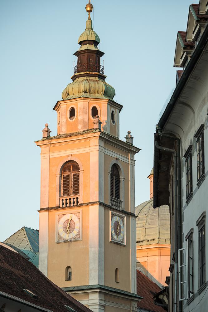 Clocktower of St Nikolaus Church, Old Town, Ljubljana, Slovenia