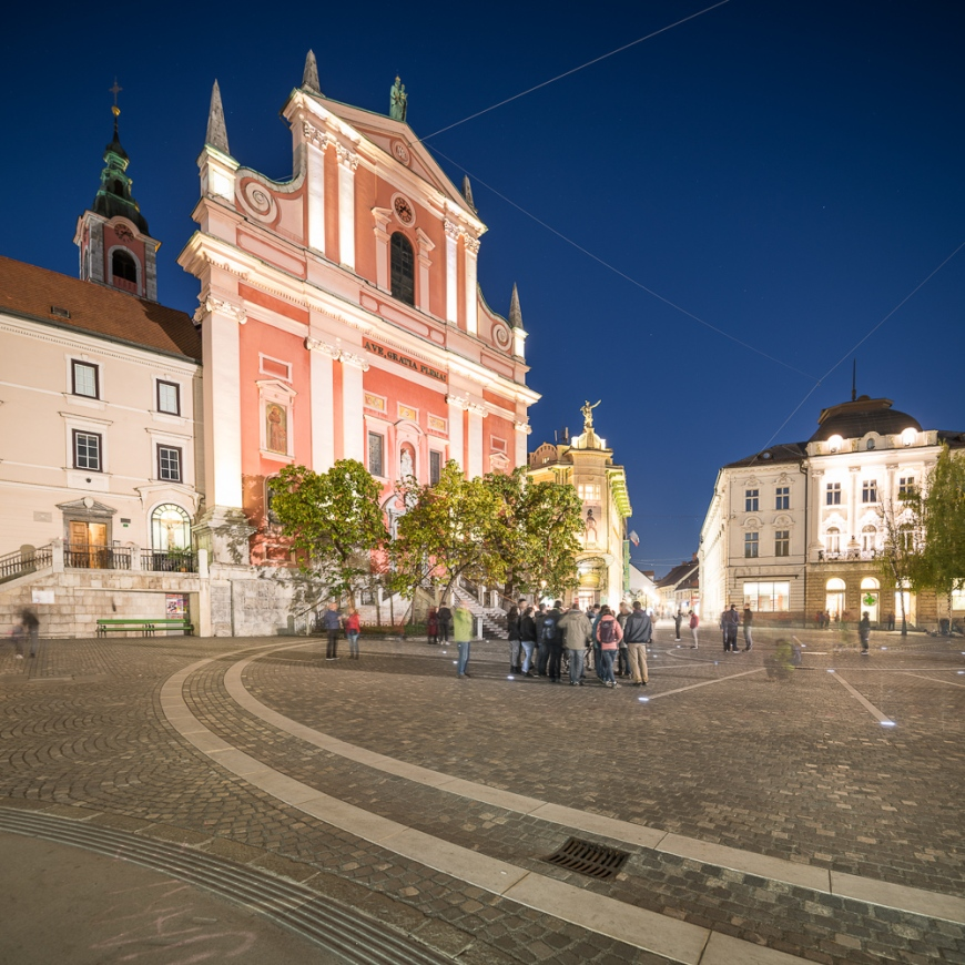 Franciscan Church of the Annunciation illuminated at Night, Old Town, Ljubljana, Slovenia