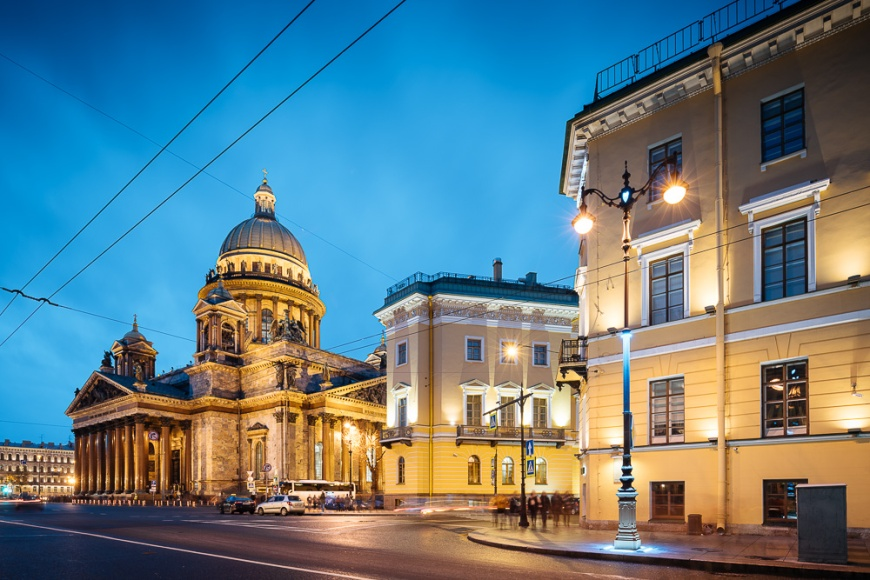 Exterior of Saint Isaac's Cathedral at Night, Saint Petersburg, Leningrad Oblast, Russia