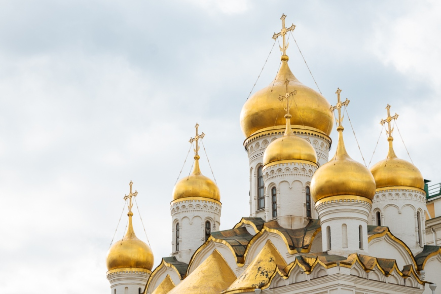 Steeples of Annunciation Cathedral, The Kremlin, Moscow, Moscow Oblast, Russia