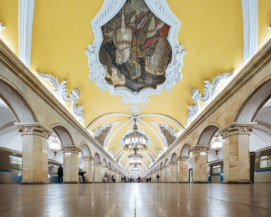 Interior of Komsomoloskaya Metro Station, Moscow, Moscow Oblast, Russia