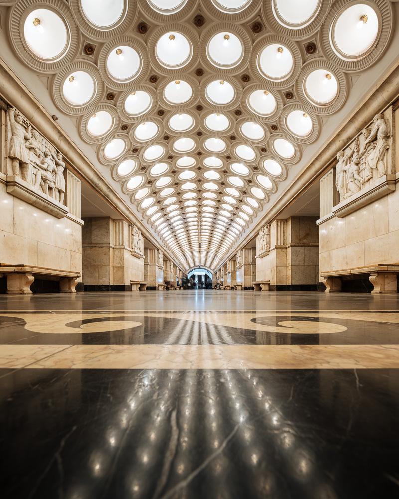 Interior of Elektrozavodskaya Metro Station, Moscow, Moscow Oblast, Russia