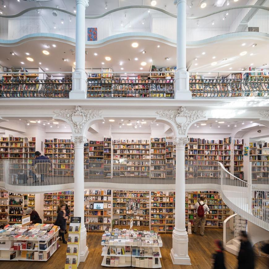 Interior of Carturesti Carusel Book Shop, Bucharest, Romania